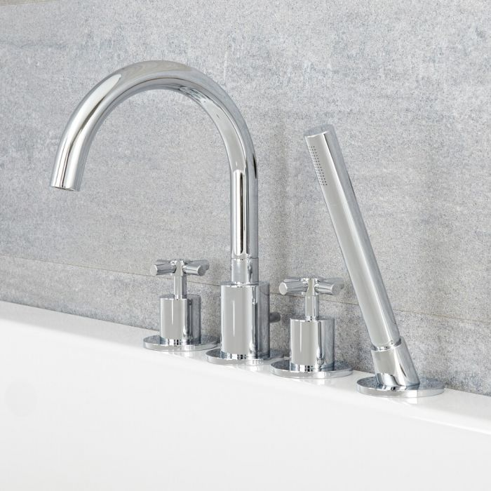 Milano Tec - Modern Deck Mounted 4 Tap-Hole Bath Shower Mixer Tap with Hand Shower - Chrome
