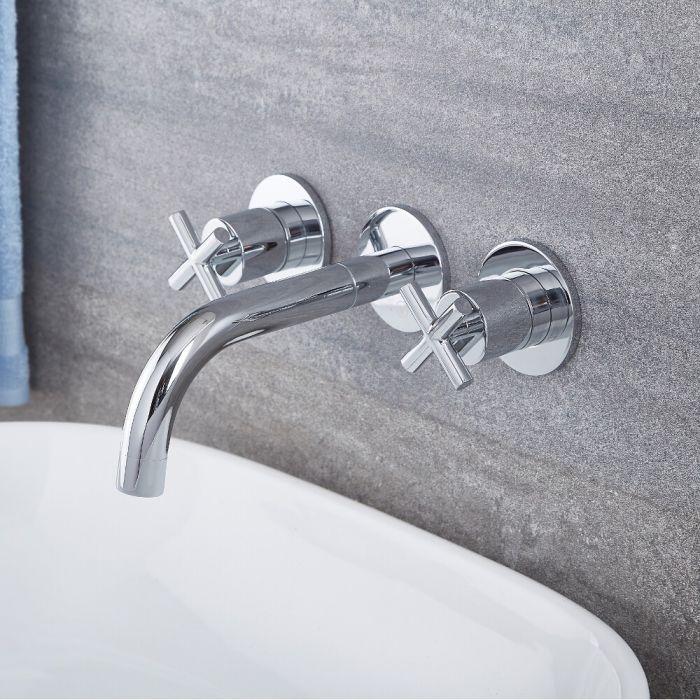 Milano Tec - Modern Wall Mounted Basin Mixer Tap - Chrome