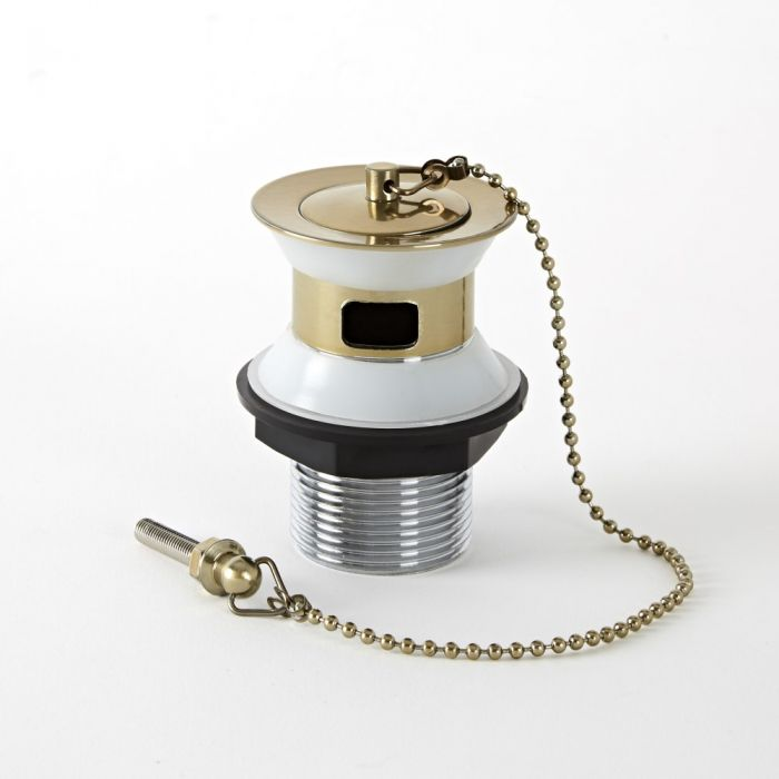 Milano Auro - Traditional Slotted Basin Waste with Chain - Brushed Gold
