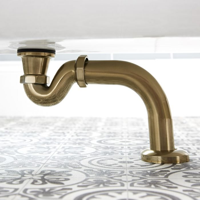 Milano Auro - Traditional Shallow Seal Bath Trap - Brushed Gold