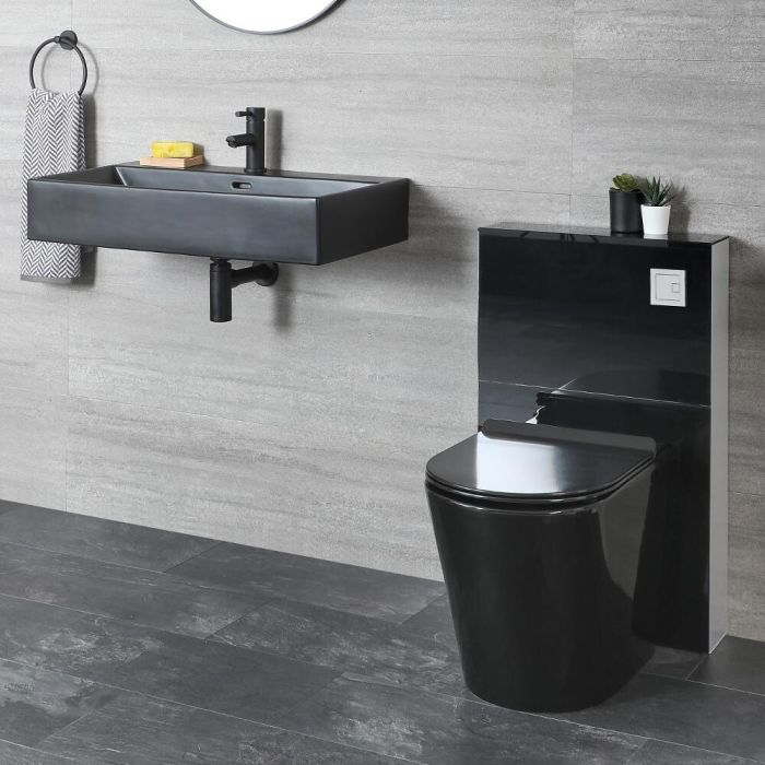 Milano Nero - Modern Back to Wall Toilet with WC Unit and Wall Hung Basin - Black