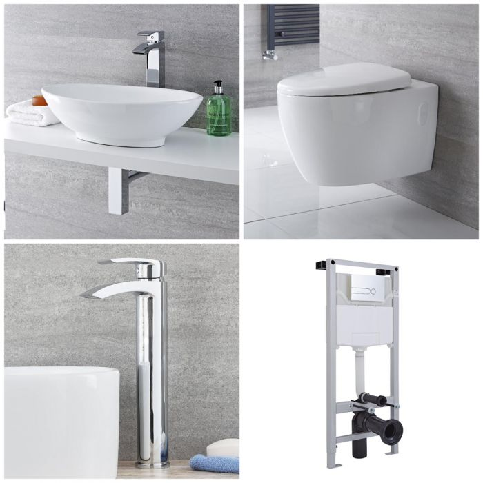 Milano Altham - Complete Modern Cloakroom Suite with Mono Basin Tap
