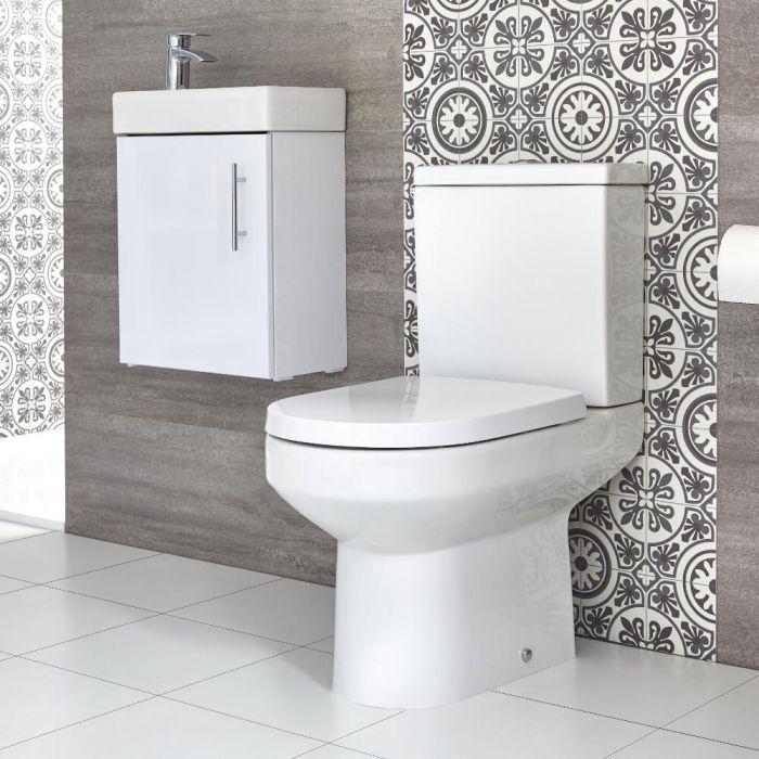 Milano Ballam - Close Coupled Toilet and 400mm Wall Hung Vanity Unit Set - Choice of Finish