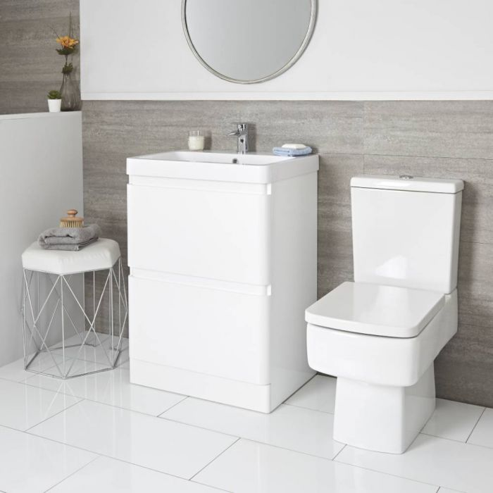 Milano Daxon - White Modern 600mm Vanity Unit and Close Coupled Toilet Set