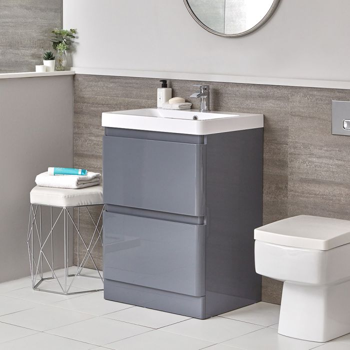 Milano Daxon - Grey Modern 600mm Vanity Unit and Back to Wall Toilet Set