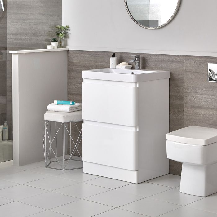 Milano Daxon - White Modern 600mm Vanity Unit and Back to Wall Toilet Set