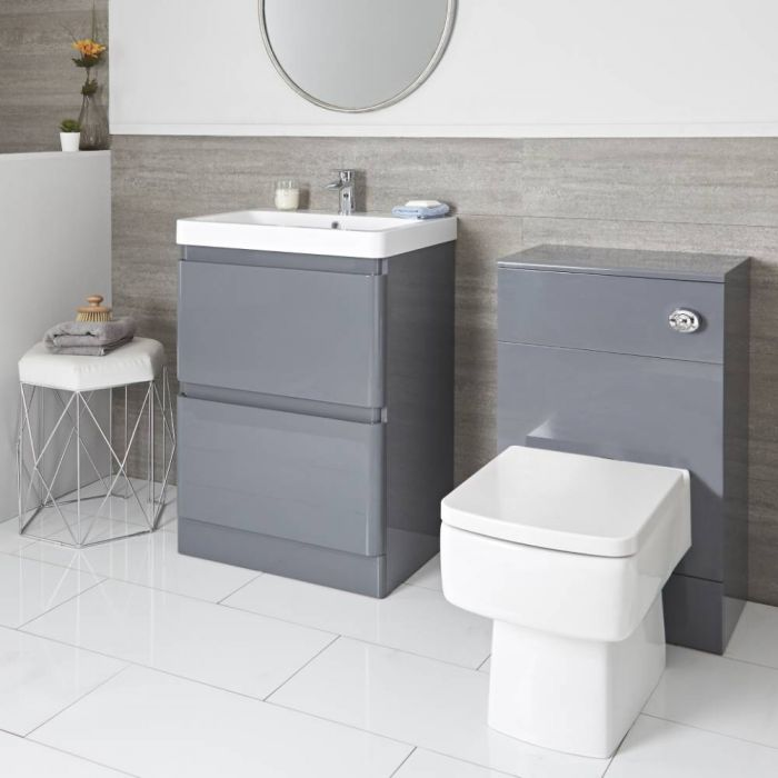 Milano Daxon - Grey Modern 600mm Vanity Unit and WC Unit with Back to Wall Toilet