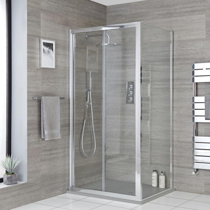 Milano Portland - Corner Bi-Fold Shower Door Enclosure with Slate Tray - Choice of Sizes