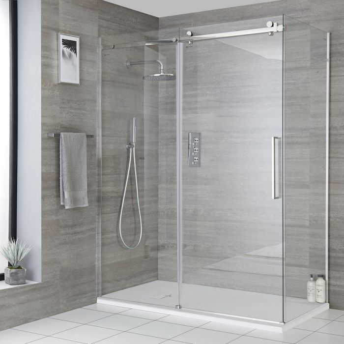 Milano Portland - Corner Frameless Sliding Door Shower Enclosure with Slate Tray - Choice of Sizes