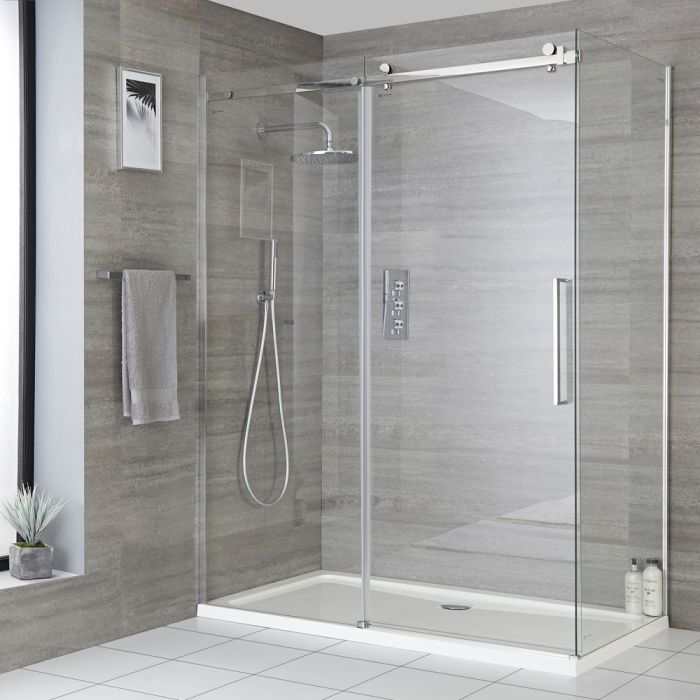 Milano Portland - Corner Frameless Sliding Door Shower Enclosure with Tray and Side Panel - Choice of Sizes