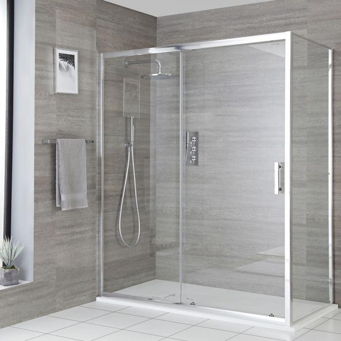 Milano Portland - Corner Sliding Door Shower Enclosure with Slate Tray - Choice of Sizes