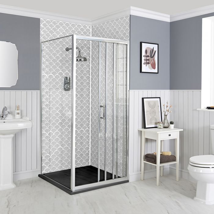 Milano Langley - Corner Traditional Sliding Shower Door Enclosure with Slate Tray - Choice of Sizes