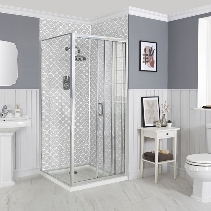 Milano Langley - Corner Traditional Sliding Shower Door Enclosure with Tray - Choice of Sizes