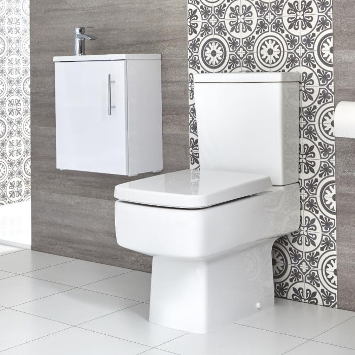 Milano Farington - Close Coupled Toilet and 400mm Wall Hung Vanity Unit with Slimline Basin - Choice of Finish