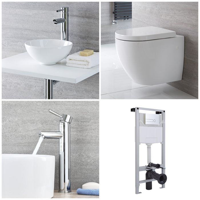 Milano Irwell - Complete Modern Cloakroom Suite with Mono Basin Tap