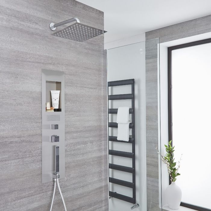 Milano Lisse - Concealed Brushed Shower Panel with 300mm Square Head and Wall Arm
