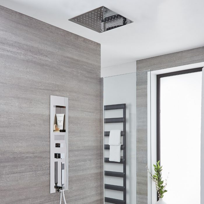 Milano Lisse - Concealed Chrome Shower Panel with 400mm Square Recessed Ceiling Head