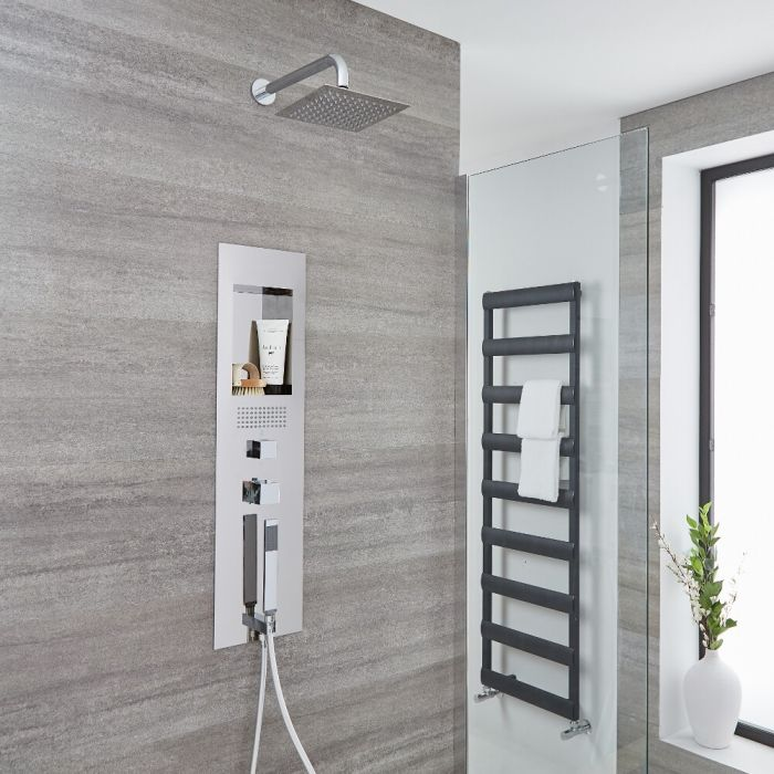 Milano Lisse - Concealed Chrome Shower Panel with 200mm Square Head and Wall Arm