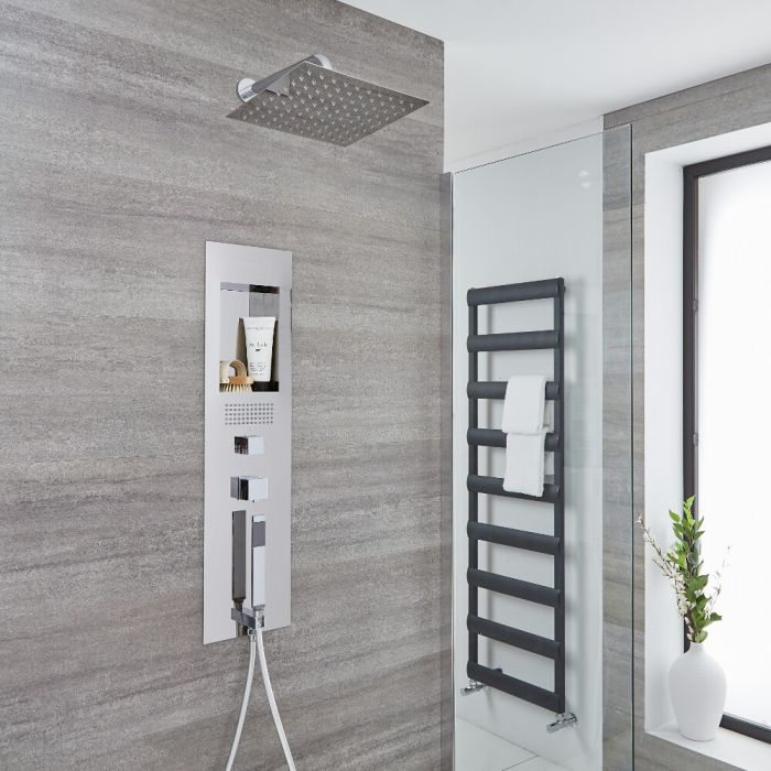 Milano Lisse - Concealed Chrome Shower Panel with 300mm Square Head and Wall Arm