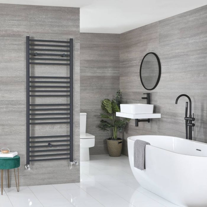 Milano Artle Dual Fuel - Anthracite Flat Heated Towel Rail - 1800mm x 600mm