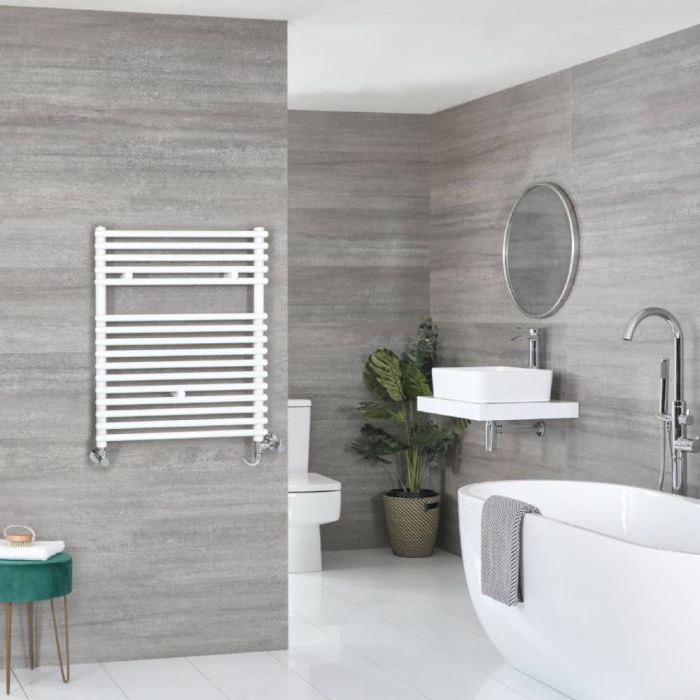Milano Arno Dual Fuel - White Bar on Bar Heated Towel Rail - 730mm x 450mm