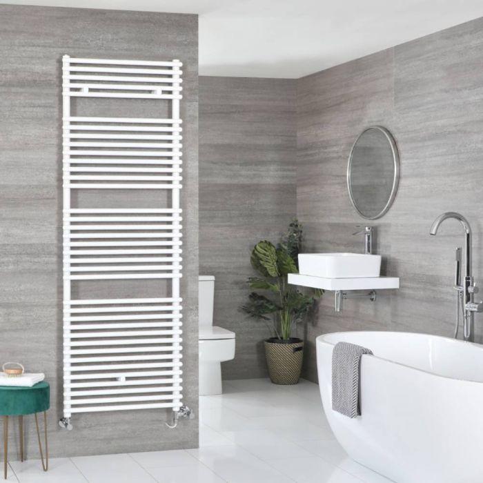 Milano Arno Dual Fuel - White Bar on Bar Heated Towel Rail - 1738mm x 450mm