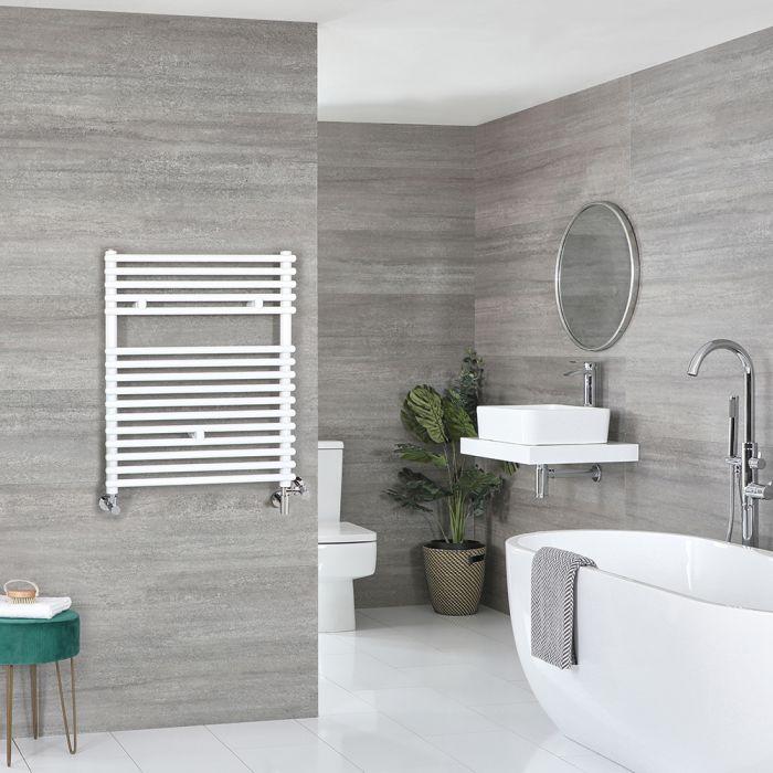 Milano Arno Dual Fuel - White Bar on Bar Heated Towel Rail - 730mm x 600mm