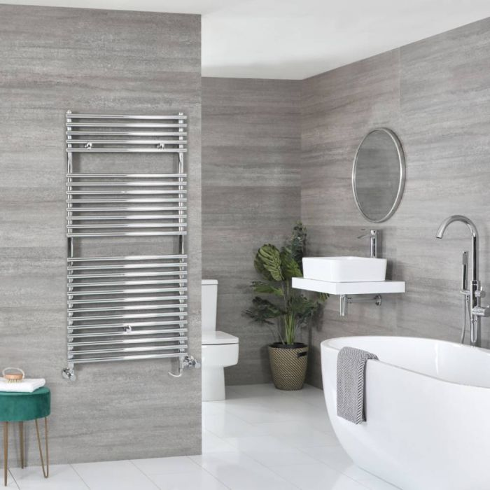 Milano Arno Dual Fuel - Chrome Bar on Bar Heated Towel Rail - 1190mm x 600mm
