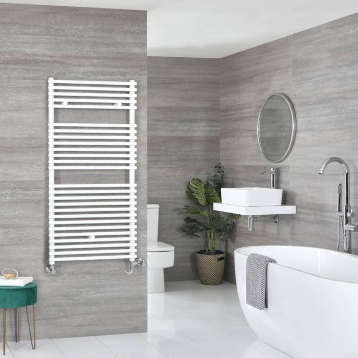 Milano Arno Dual Fuel - White Bar on Bar Heated Towel Rail - 1190mm x 600mm