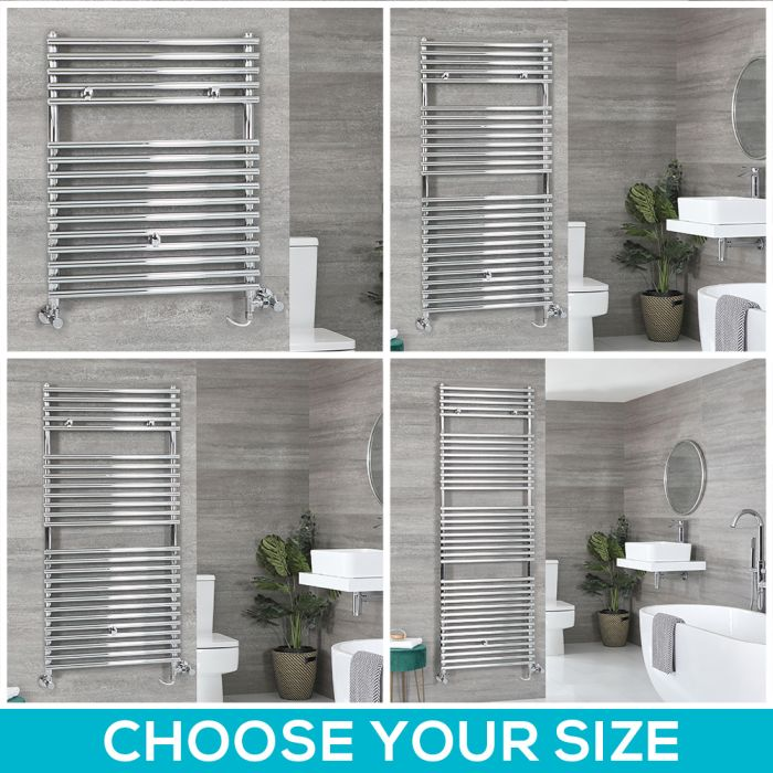 Milano Arno Dual Fuel - Chrome Bar on Bar Heated Towel Rail - Choice of Size