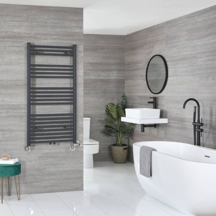 Milano Neva Dual Fuel - Anthracite Heated Towel Rail - 1188mm x 500mm