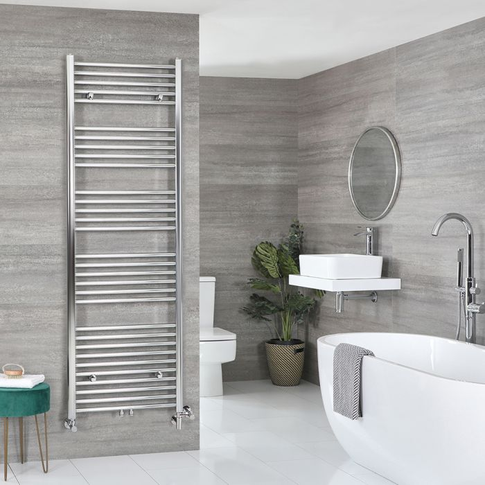 Milano Neva Dual Fuel - Chrome Heated Towel Rail - 1785mm x 500mm