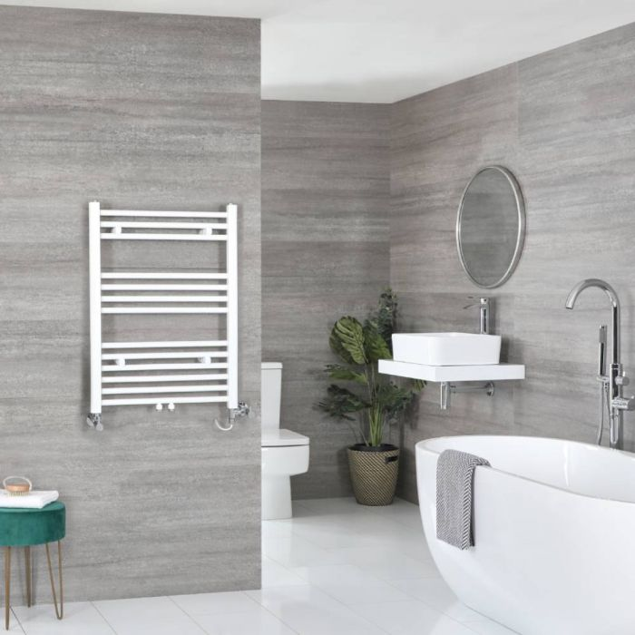 Milano Neva Dual Fuel - White Heated Towel Rail - 803mm x 500mm