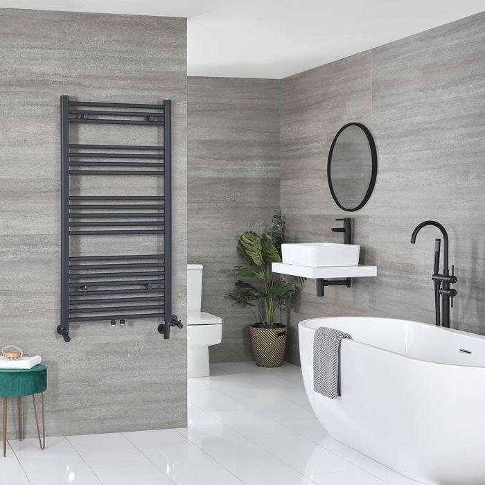 Milano Neva Dual Fuel - Anthracite Heated Towel Rail - 1188mm x 600mm