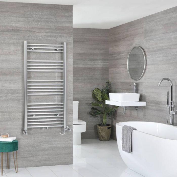 Milano Neva Dual Fuel - Chrome Heated Towel Rail - 1188mm x 600mm