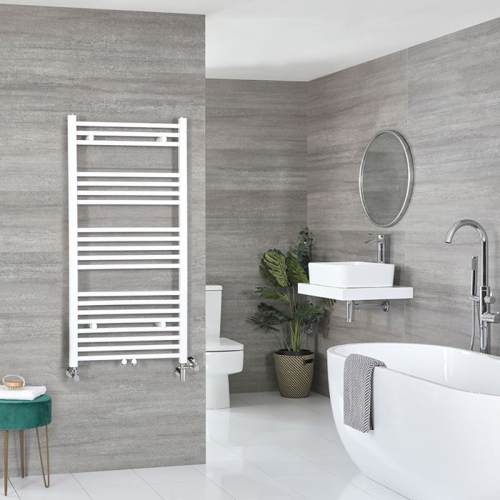 Milano Neva Dual Fuel - White Heated Towel Rail - 1188mm x 600mm