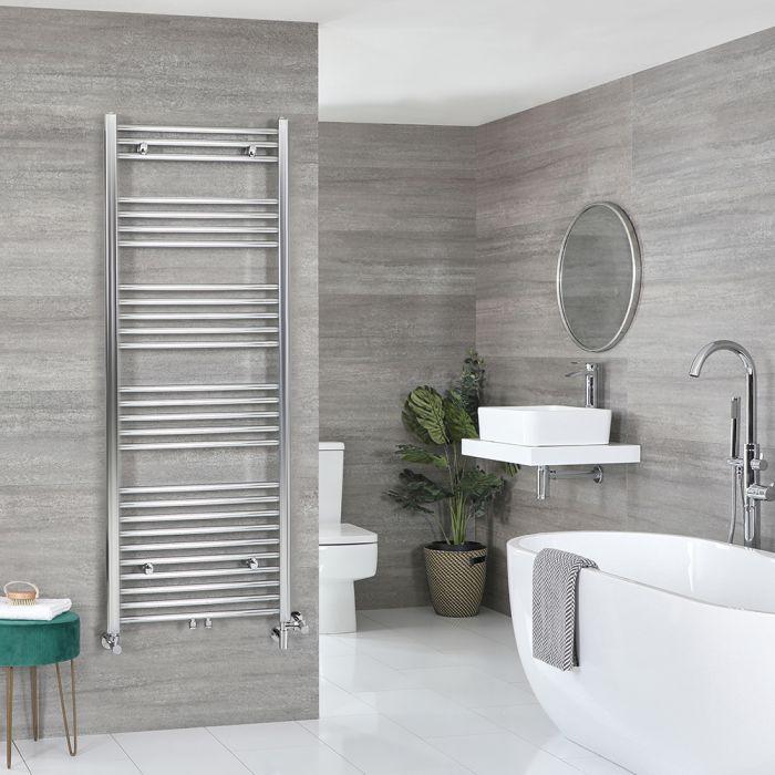 Milano Neva Dual Fuel - Chrome Heated Towel Rail - 1600mm x 600mm