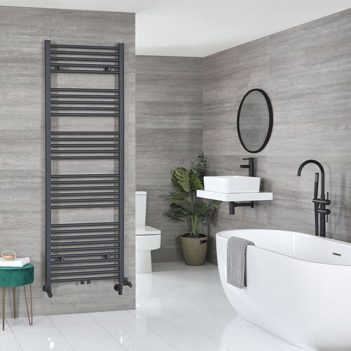 Milano Neva Dual Fuel - Anthracite Heated Towel Rail - 1785mm x 600mm