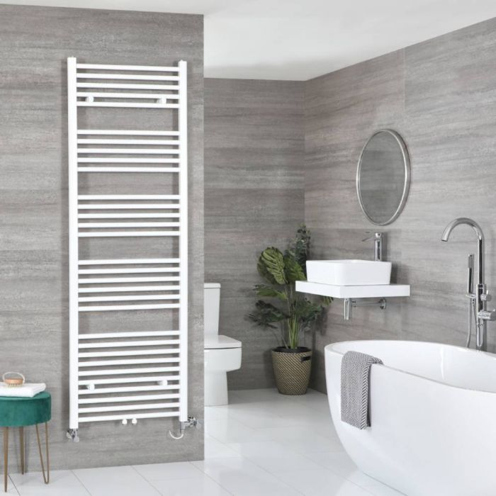 Milano Neva Dual Fuel - White Heated Towel Rail - 1785mm x 600mm