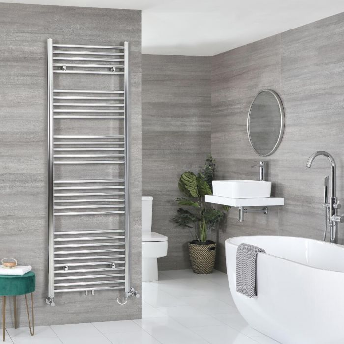 Milano Neva Dual Fuel - Chrome Heated Towel Rail - Choice of Size