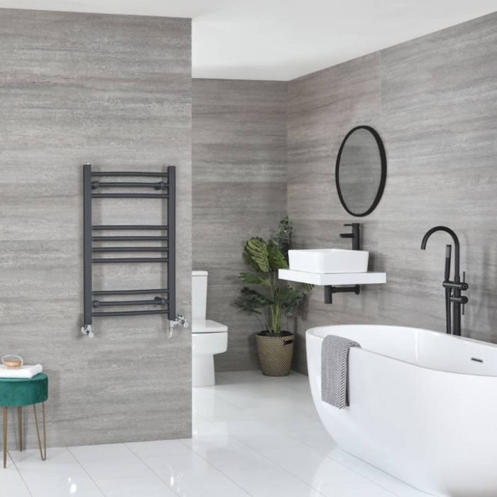 Milano Artle Dual Fuel - Anthracite Curved Heated Towel Rail - 800mm x 500mm