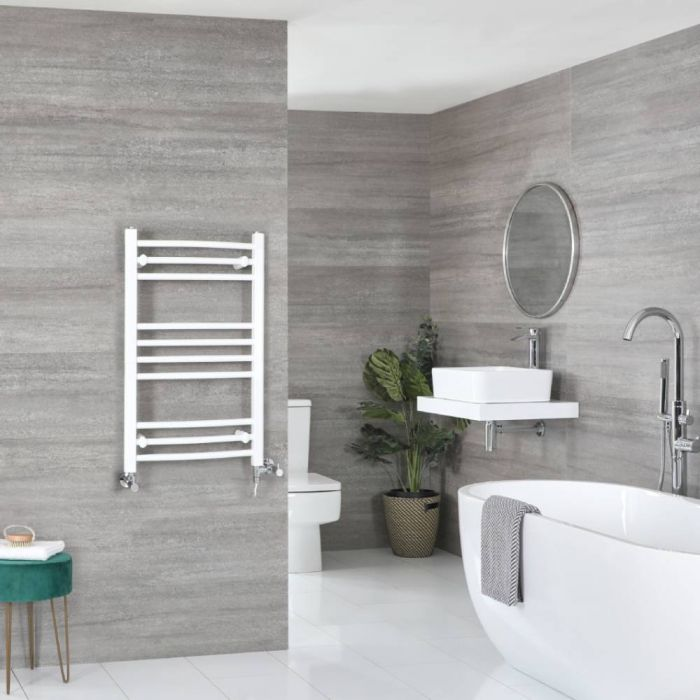 Milano Ive Dual Fuel - White Curved Heated Towel Rail - 800mm x 500mm