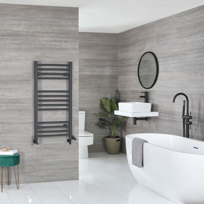 Milano Artle Dual Fuel - Anthracite Curved Heated Towel Rail - 1000mm x 500mm