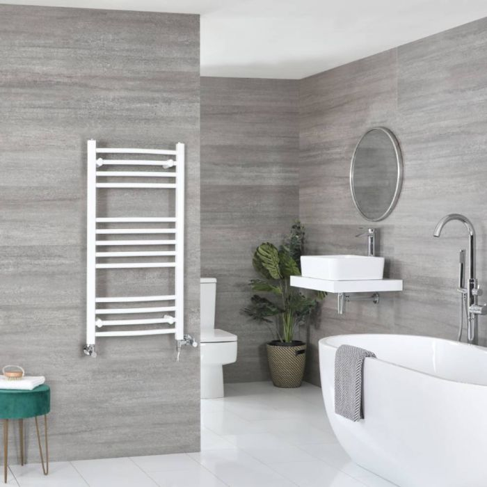 Milano Ive Dual Fuel - White Curved Heated Towel Rail - 1000mm x 500mm