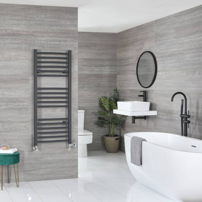 Milano Artle Dual Fuel - Anthracite Curved Heated Towel Rail - 1200mm x 500mm