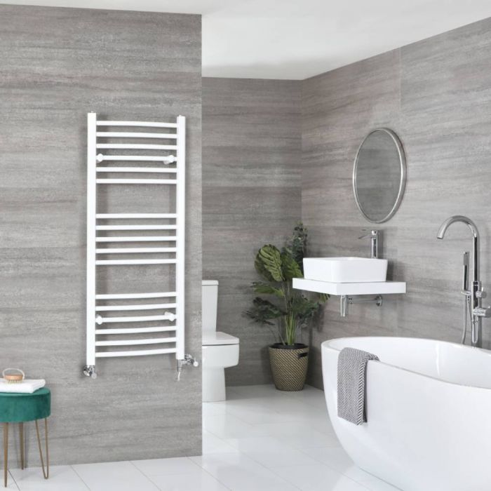 Milano Ive Dual Fuel - White Curved Heated Towel Rail - 1200mm x 500mm