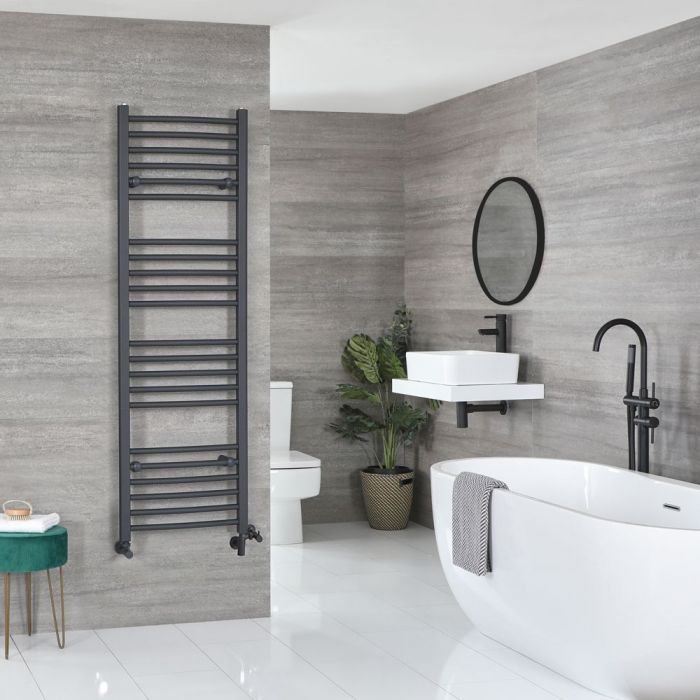 Milano Artle Dual Fuel - Anthracite Curved Heated Towel Rail - 1600mm x 500mm