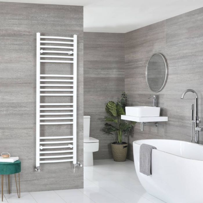 Milano Ive Dual Fuel - White Curved Heated Towel Rail - 1600mm x 500mm