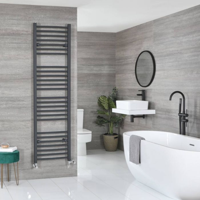 Milano Artle Dual Fuel - Anthracite Curved Heated Towel Rail - 1800mm x 500mm