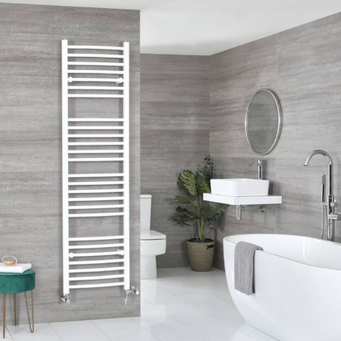 Milano Ive Dual Fuel - White Curved Heated Towel Rail - 1800mm x 500mm